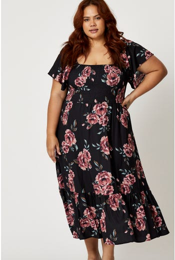 Plus Floral Print Shirred Skater Dress