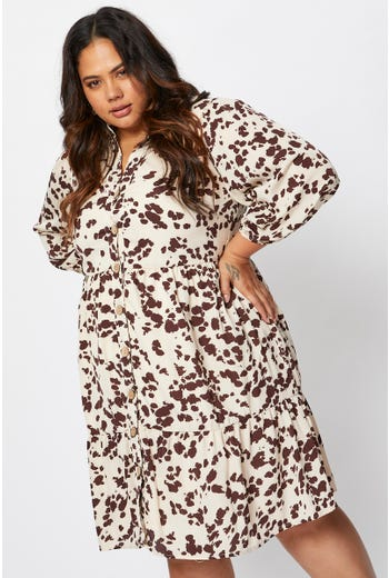 Plus 3/4 Sleeve Print Shirt Dress