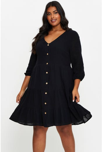 Plus 3/4 Sleeve Button Front Linen Smock Dress