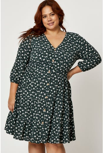 Plus 3/4 Sleeve Button Front Floral Smock Dress