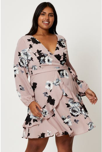 Plus Floral Ruffle Skater Dress