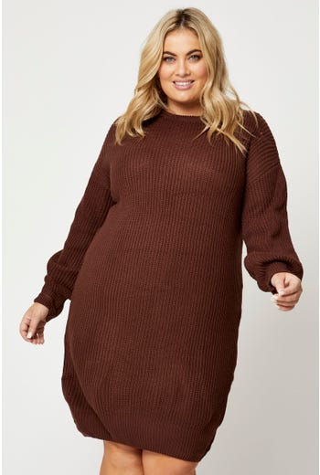 Plus Long Sleeve Cable Knit Dress