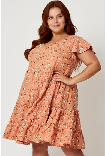 Plus Short Sleeve Floral Skater Dress