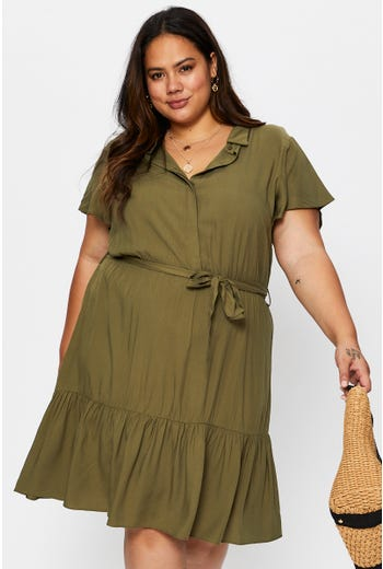 Plus Short Sleeve Tiered Shirt Dress