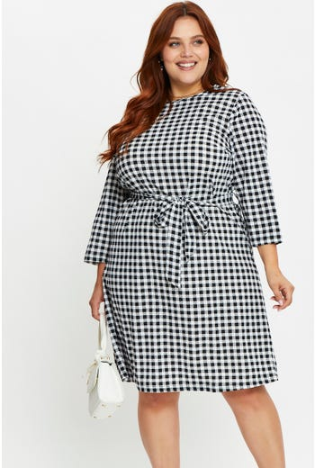 Plus 3/4 Sleeve Houndstooth Check Shift Dress