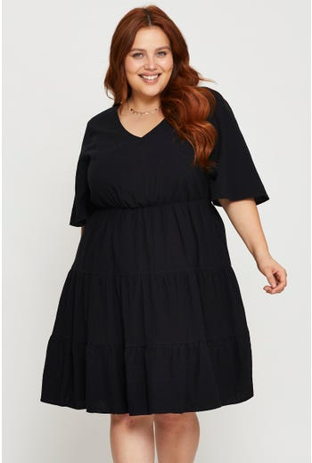 Wing Sleeve Textured Cotton Skater Dress