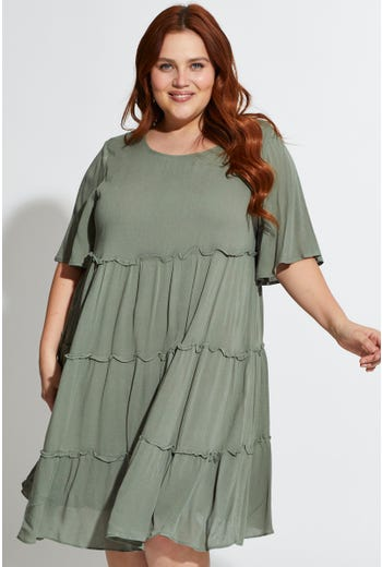 Plus Wing Sleeve Tiered Smock Dress