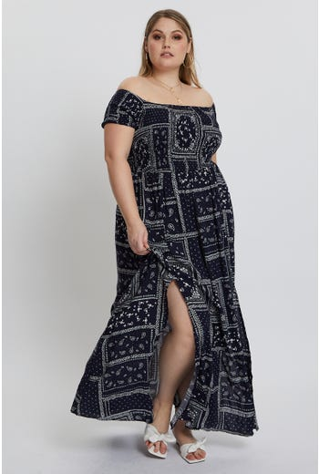 Plus Bandanna Shirred Maxi Dress