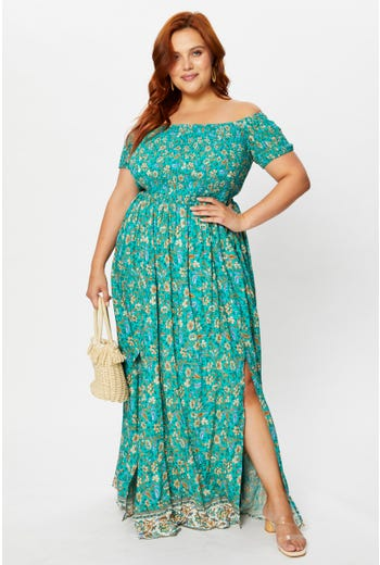 Plus Boho Print Shirred Maxi Dress