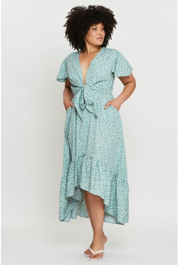Plus Short Sleeve Tie Front High-Low Maxi Dress