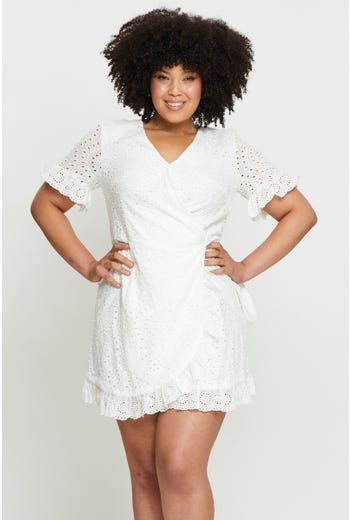Plus Short Sleeve Cotton Embroidered Wrap Dress