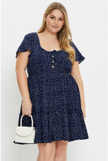 Plus Short Sleeve Polka Dot Skater Dress