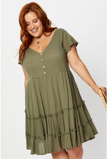 Plus Short Sleeve Button Front Tiered Skater Dress