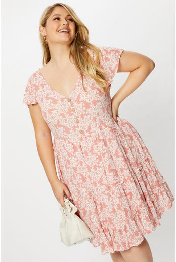 Plus Short Sleeve Floral Print Button Front Tiered