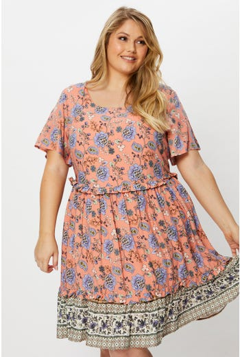 Plus Boho Print Swing Dress