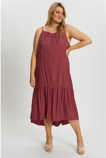 Plus V Neck Swing Midi Dress