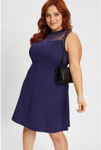 Plus Lace Panel Skater Dress
