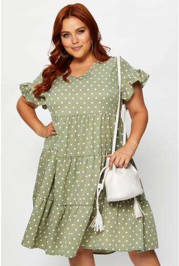 Plus V-Neck Tiered Dress