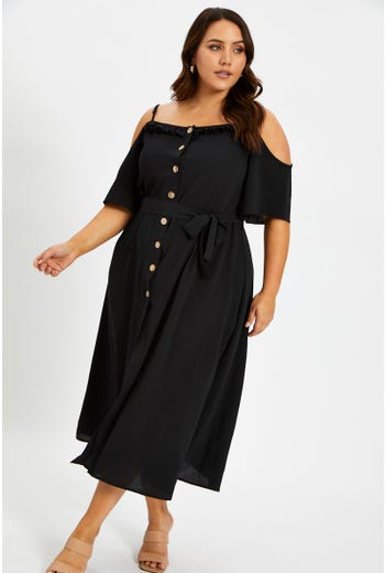 Plus Cold Shoulder Button Front Dress