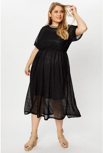 Plus Lace Skater Midi Dress