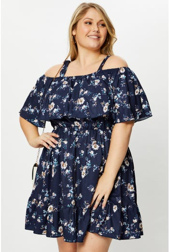 Plus Cold Shoulder Skater Dress