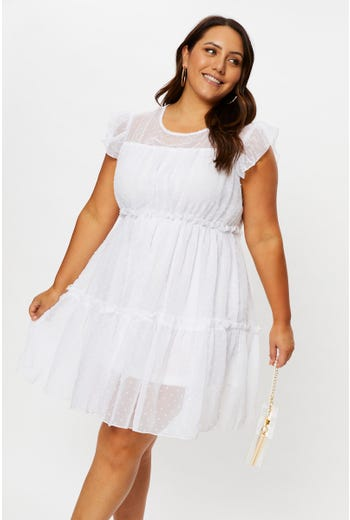 Plus Swiss Dot Skater Dress