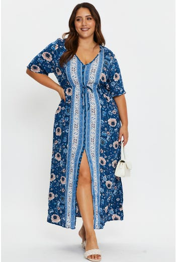Plus Boho Print Maxi Tunic Dress