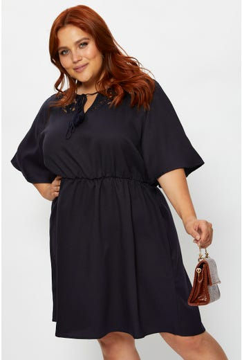 Plus Lace Panel Bell Sleeve Skater Dress