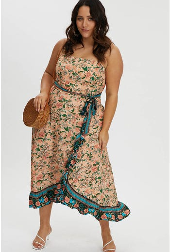 PLUS BOHO RUFFLE MAXI DRESS