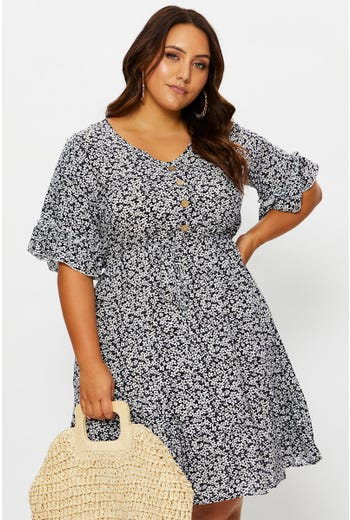 Plus Button Front Ruffle Detail Dress
