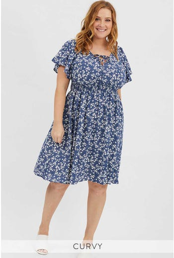PLUS SHIRRED FLORAL DRESS