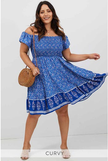 PLUS BOHO SHIRRED OFF SHOULDER DRESS
