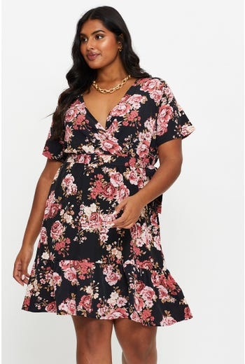 Plus Floral Print Wrap Front Skater Dress