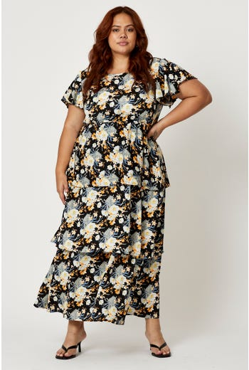 Plus Floral Print Double Layer Sleeve Dress