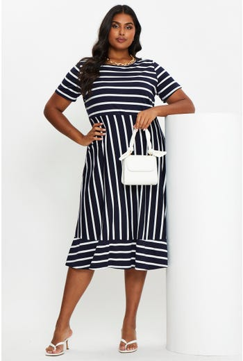 Plus Stripe Midi Skater Dress