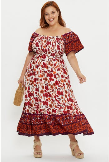 PLUS BOHO SHIRRED MIDI DRESS
