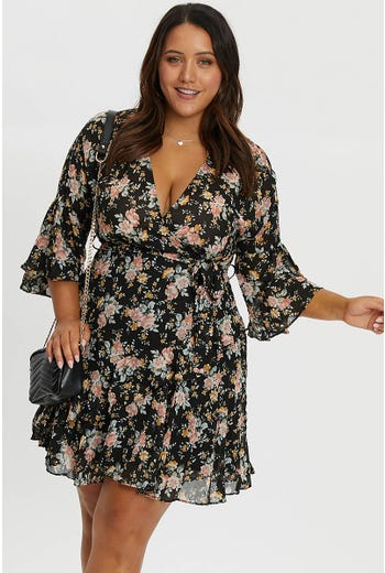 Plus Floral Bell Sleeve Dress