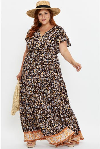 Plus Short Sleeve Boho Print Button Front Maxi Dress