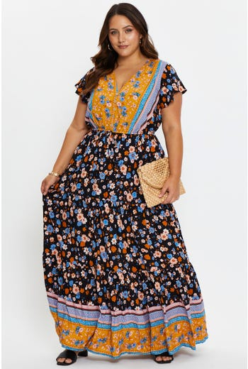 Plus Ditsy Floral Boho Print Maxi Dress