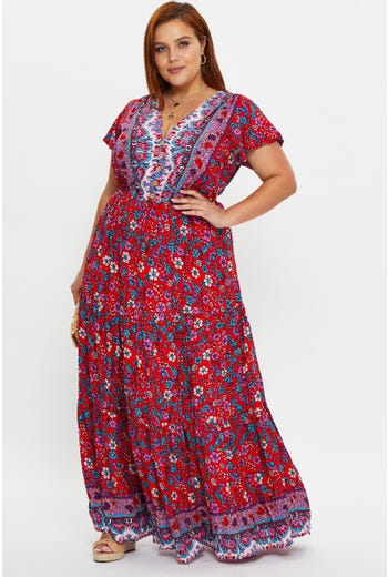 Plus Short Sleeve Boho Print Maxi Dress