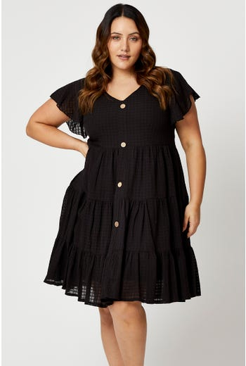 Plus Button Front Tiered Skater Dress