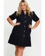 Plus Button Front Tiered Dress