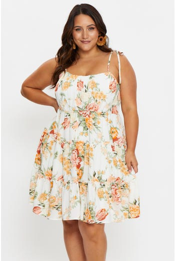 Plus Sleeveless Floral Swing Dress