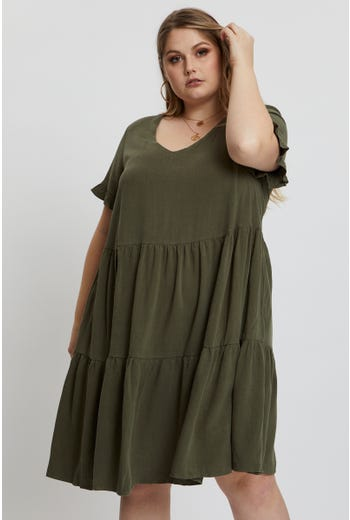 Plus Linen Tiered Swing Dress