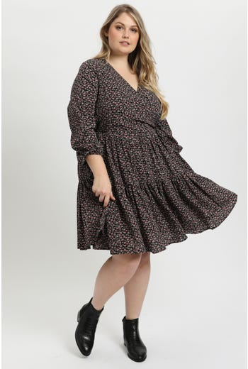 Plus Wrap Front Skater Dress