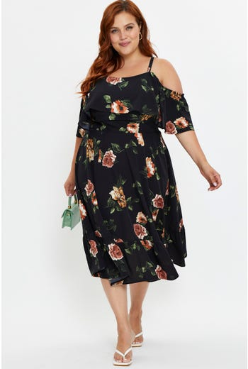 Plus Floral Print Cold Shoulder Ruffle Dress