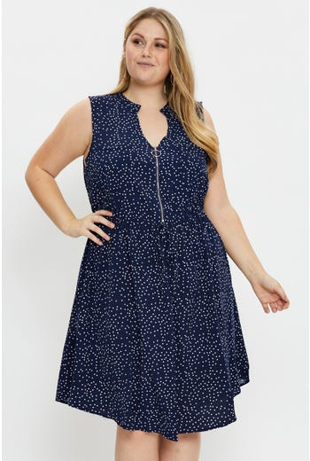 Plus Sleeveless Polka Dot Zip Front Dress