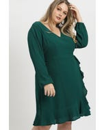 Plus V Neck Wrap Dress