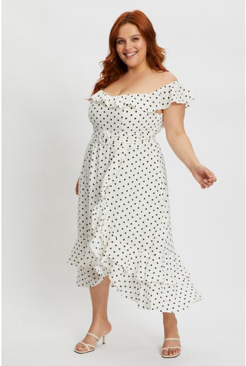 Plus Polka Dot Bardot Ruffle Dress