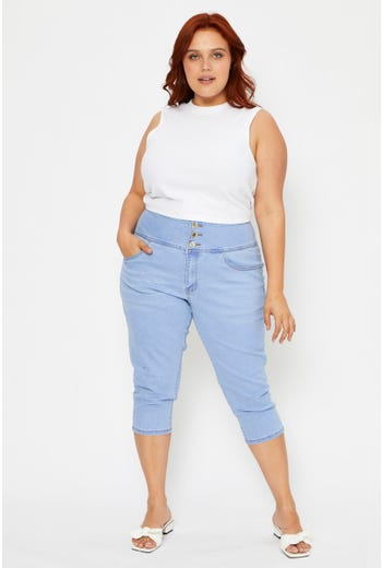 Plus 3 Buttons Crop Denim Jeans